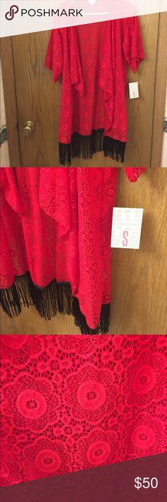 NWT! Lularoe Monroe Kimono. Red with black fringe. NWT! Lularoe Monroe Kimono. Red with black fringe. Flora lace! Perfect condition! LuLaRoe Tops Camisoles