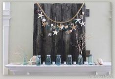 Mason Jar Summer Mantel Decor - Finding Home