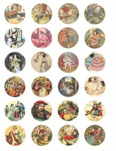 vintage fairy tale story book fantasy clip art digital download collage sheet 1.5 inch circles>