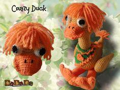 Ente crazy duck, verrückt und poppig, Häkelanleitung von DaDaDe