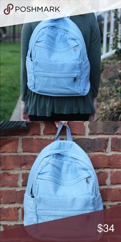 Chambray Backpack 16 inches width, 16 inches height, and 4.25D. Very cute chambray backpack! Lots of storage space and different openings for optimal storage. Perfect for students or anyone in need of a backpack! I'm firm on price but I do have a bundle discount! *Will add a photo of the inside asap! Forever Moon Bags Backpacks