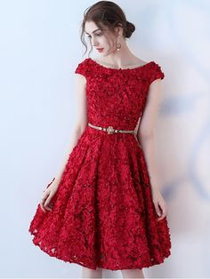 Wine Red Floral Cinched Waist Midi Dress