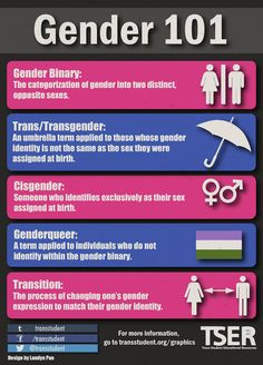 This image from Trans Student Equality Resources provide information on the difference between gender binary and non-gender binary terms. Transgender Ftm, Transgender People, Gay Straight Alliance, Gender Binary, Gender Issues, Lgbt Memes, Genderqueer, Lgbt Community, Equality