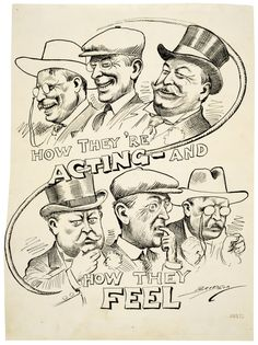 Theodore Roosevelt, Woodrow Wilson, and William Howard Taft before the 1912 Presidential Election. (Clifford Berryman, from the National Archives)
