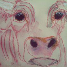 11 x 15, original cow portrait