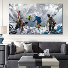 Winter Mountain Extreme Skiing Snowboarding Sports Steep wall art pictures canvas oil paintings printings home decor $20.9