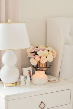 Afloral Silk Flowers & The Best Ginger Jar Vases. master bedroom makeover, white tufted bed, white a White Tufted Bed, White Bedding, Home Interior, Interior Design, Interior Plants, Master Bedroom Makeover, Master Bedrooms, Bedroom Makeovers, Bedroom Night Stands
