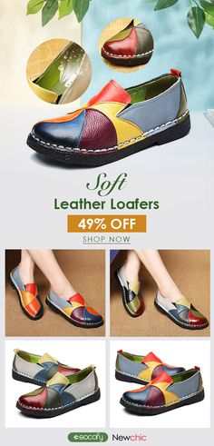 e1e29a338d  49% offf SOCOFY Soft Handmade Splicing Colorful Genuine Leather Stiching  Slip On Casual
