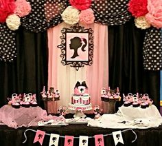 Lovely decorations at a Barbie birthday party!  See more party planning ideas at CatchMyParty.com!