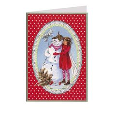 .Daniella Drescher Red Polka Dot Fairy and Snowman Christmas Card ~ Germany