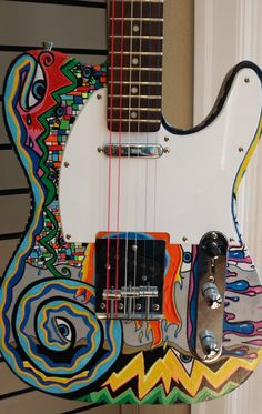 6 String, Electric, Hand Painted Multi-Color Guitar *one-of-a-kind*