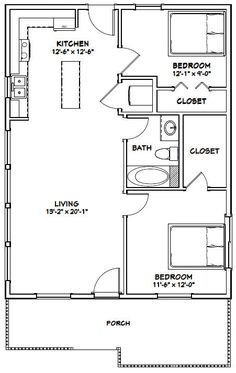 Details about 2432 House 2 Bedroom 2 Bath PDF Floor Plan 768 sq ft Model 3 2 Bedroom House Plans, Small House Plans, House Floor Plans, Apartment Floor Plans, House 2, The Plan, How To Plan, Small Room Design, Shed Homes