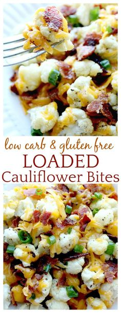 Loaded Cauliflower Bites - a low carb alternative to potato skins! Covered in ch. Loaded Cauliflower Bites - a low carb alternative to potato skins! Covered in cheese and bacon it has to be good! See low carb recipes aren& so bad! Diet Recipes, Cooking Recipes, Healthy Recipes, Recipies, Salad Recipes, Lunch Recipes, Vegetarian Recipes, Potato Recipes, Cooking Steak