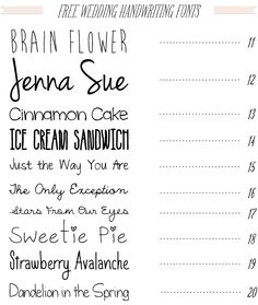 Free Wedding Handwriting Fonts download from Dafont.com