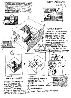 interesting diagramming technique for representing solid and void spaces. Architecture Concept Diagram, Architecture Sketchbook, Architecture Graphics, Architecture Details, Classical Architecture, Conceptual Sketches, Conceptual Design, Hand Sketch, Technical Drawing