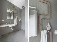 Gray tiled bathroom, exposed copper pipes by Karhard, Berlin