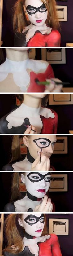 Harley Quinn   Batman Makeup & Body Paint Tutorial.