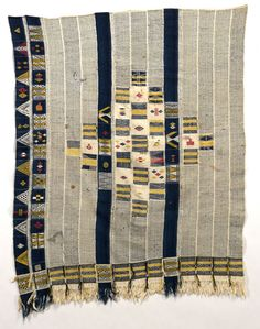 Africa | Woman's Wrapyper from the Ivory Coast | Cotton, supplementary weaving | Collected between 1919 and 1930
