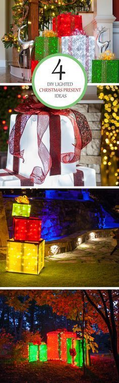 Create Lighted Gift Boxes to use as Outdoor Christmas yard decorations. By using basic materials found at any local hardware store, or some you might even have laying around the yard, plus string lights and festive fabric, we'll show you how to make your own lighted Christmas presents!