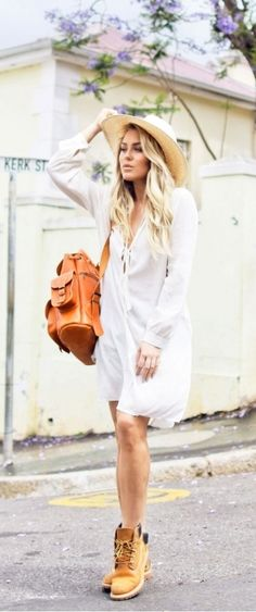 how to wear timberland heels with dress