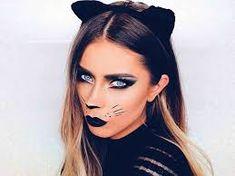 halloween makeup - Google Search Maquillage Halloween Zombie, Cat Halloween Makeup, Halloween Eyes, Halloween Makeup Looks, Easy Halloween, Halloween Costumes, Deer Costume, Cat Costume Makeup, Youtube Halloween
