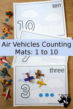 Free Flying Fun Air Vehicle Themed Counting Mats - 1 to 10 numbered mats - 3Dinosaurs.com