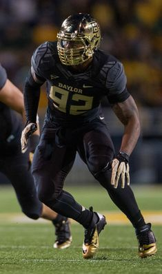 2013 Baylor Bear Black Nike Uniform with Gold Chrome Football Helmet