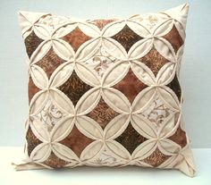 Decorative Pillow Cover Throw Pillow Brown Beige Batik Cathedral Window Quilt 18 Inch