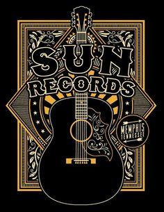 Sun Records Sun Crescent T-Shirt Pop Rock, Rock And Roll, Rockabilly Artwork, Rockabilly Guitar, Sun Records, Best Acoustic Guitar, Acoustic Guitars, Retro, Roy Orbison