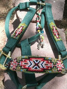 Beaded Horse Halters | Halter - Native Style, Green- horse halter, nylon halter, beaded ...