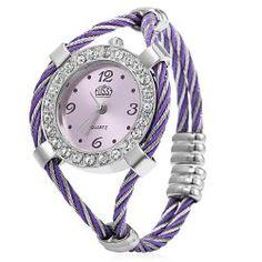 Cussi 03591 Simple Fashion Pocket Size Quartz Watch Bracelet for Lady - Purple   Pink  Blue