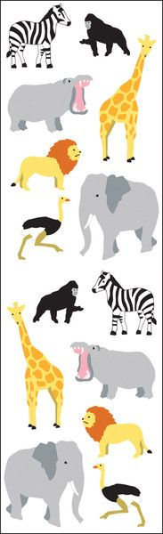 "Mrs. Grossman's Wild Animals Cartoon Stickers 6.5"" x 2"""