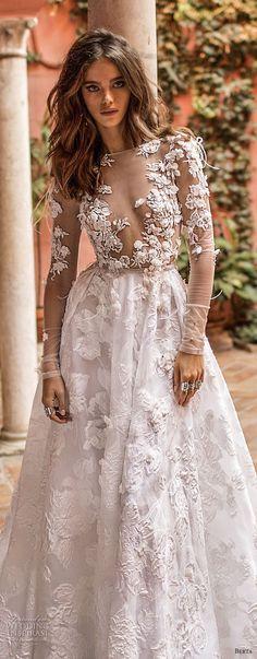 berta fall 2018 bridal long sleeves illusion bateau deep v neck heaily embellished bodice romantic sexy a line wedding dress chapel train (26) zv -- Berta Fall 2018 Wedding Dresses