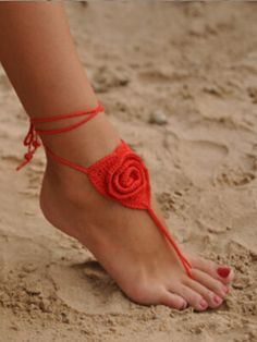 Red Rose Crochet Lace Up Anklet