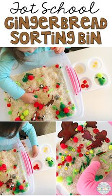 Sort and build gingerbread men with this Christmas colored sensory bin perfect for tot school, preschool, or kindergarten! Preschool Christmas, Preschool Classroom, Christmas Activities, Autism Classroom, Kindergarten Literacy, Toddler School, Tot School, School Fun, Sensory Table