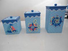 kit 3 potes de MDF decorado com biscuit