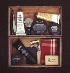 Packaging for male skincare and accessory range Triumph & Disaster designed by DDMMYY.