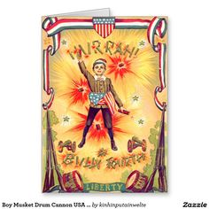 Boy Musket Drum Cannon USA Flag Fireworks Greeting Card