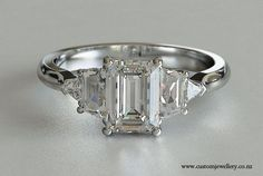 emerald cut engagement rings | Emerald Cut Five-Stone Engagement Ring with Trapazoid and Trillion ...