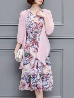Hot-sale Vintage Women Printed Sleeveless Dress Solid Cardigan Two Piece Dress - NewChic