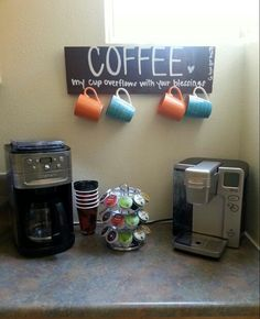 do this under the cupboards but instead of hanging from a sign, hang from hooks with a coffee nook.