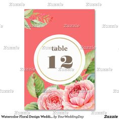 Romantic Watercolor Flower Painting Design Personalized Wedding Table Number Cards. Matching Wedding Invitations, Bridal Shower Invitations, Save the Date Cards, Wedding Postage Stamps, Bridesmaid To Be Request Cards, Thank You Cards and other Wedding Stationery and Wedding Gift Products available in the Floral Design Category of the yourweddingday store at zazzle.com