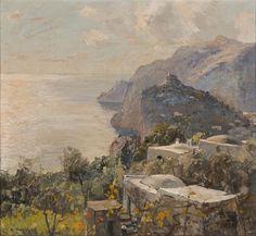Représentant une vue sur la côte rocheuse à Capri by Carlo Perindani (Italian 1899-1986)