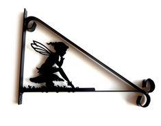 Pixie Elf Girl Sat on Toadstool Silhouette Scroll Style Hanging Basket Bracket £15.99