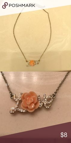 """Love necklace Love necklace with flower as the """"O"""".  Lobster clasp. Only worn a handful of times. ⭐️make an offer ⭐️ Jewelry Necklaces"""