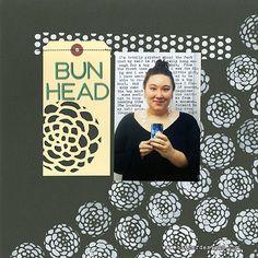 Bun Head - Julie Fei Fan Balzer - using her brand new Scalloped flower stencil and Pattern Strips stencil ...Love! Simple, bold, totally Julie!