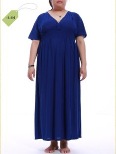 Elegant Plus Size Plunging Neck Short Sleeve Pure Color Dress For Women