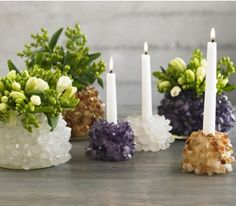 Love these for an eclectic table setting.  They combine my love of rocks and succulents.
