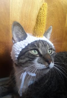 This adorable hand-knit hat is sure to turn your pet into a majestic steed. The horn is stuffed with lightweight material, does not have any