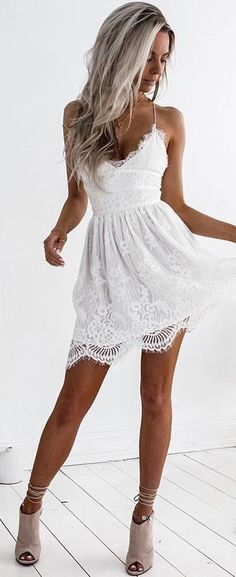 summer outfits White Crochet Lace Little Dress + Grey Suede Pumps